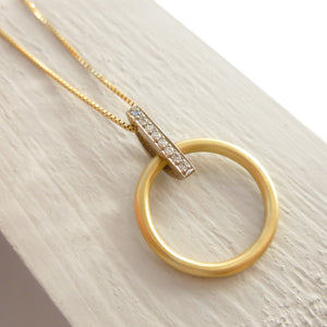 18ct white and yellow gold necklace diamonds contemporary unique bespoke modern