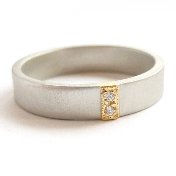 modern handmade 2 diamond wedding ring two tone in platinum and gold with a brushed or polished finish.