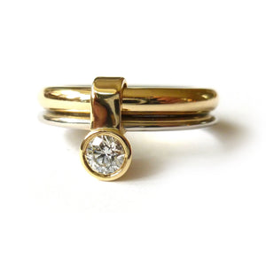 Contemporary, unique, bespoke, modern and handmade engagement ring gold