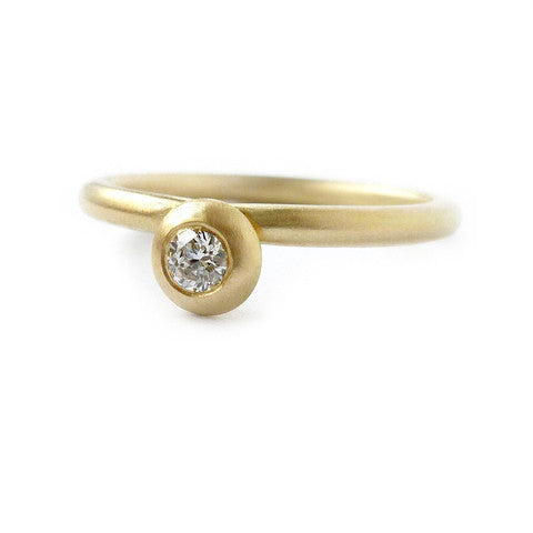2a7cee62e Modern, bespoke and unique 18k gold and round diamond contemporary matt  brushed stacking engagement ring