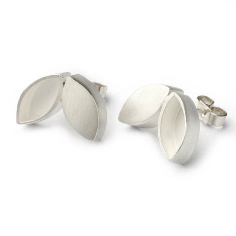Contemporary, unusual and modern silver stud earrings handmade by Sue Lane jewellery