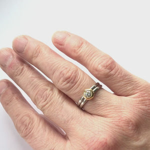 Contemporary jewellery engagement ring. Remodelling commissioning. Multi band ring or interlocking ring, sometimes called double band ring too.