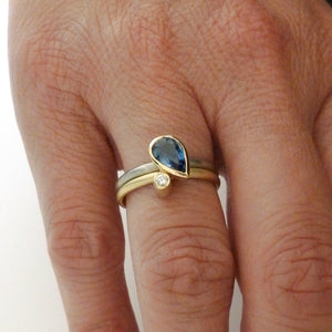 Modern cornflower blue ethically sourced sapphire and diamond stacking ring set by Sue Lane