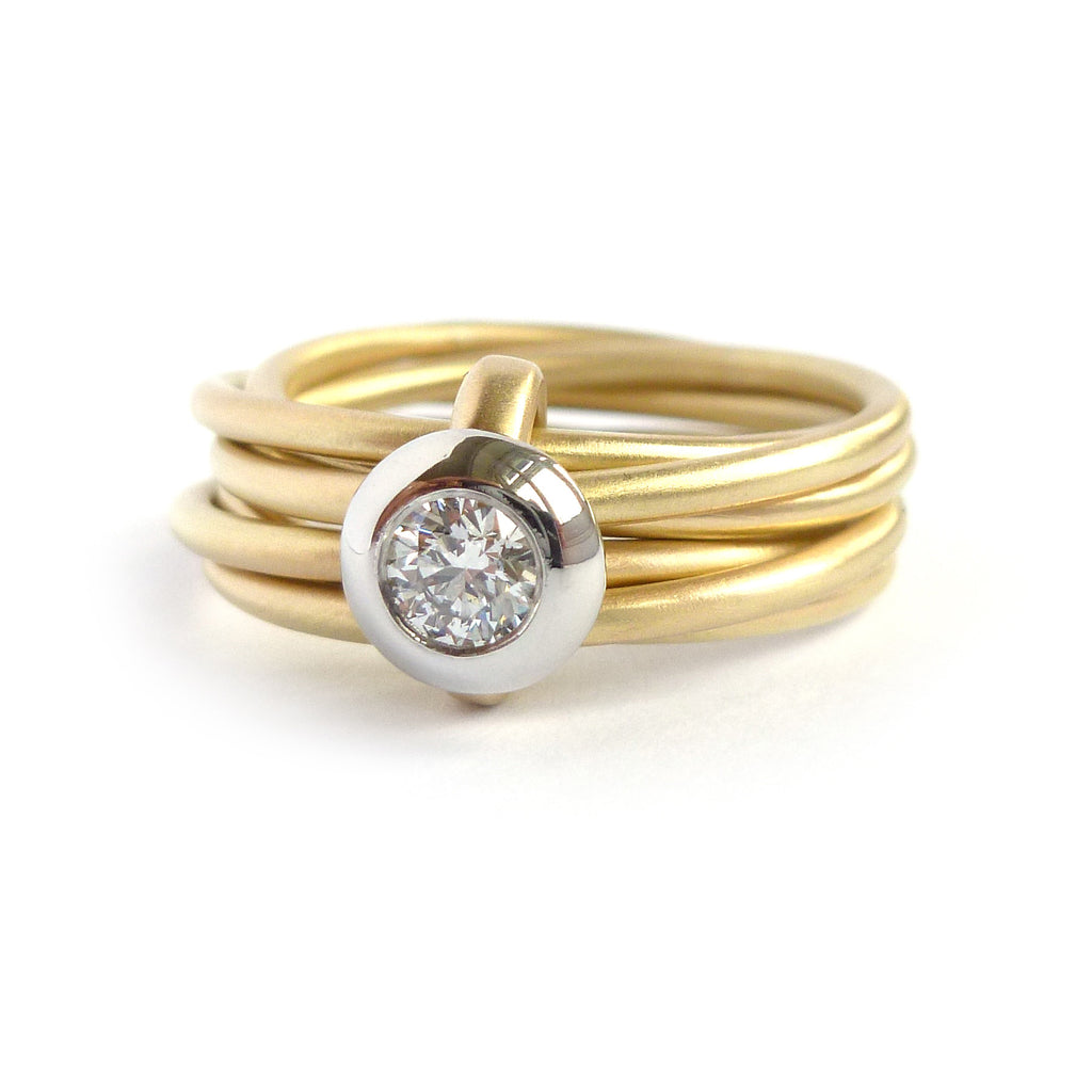 18k Gold And Diamond 6 Band Ring Rd15