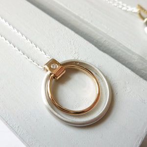 Sterling silver and 18ct rose gold pendant. Contemporary unique bespoke handmade