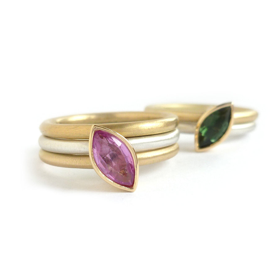Bespoke silver and gold stacking ring. Green tourmaline and pink sapphire make a stunning ringset by designer and maker Sue Lane. Statement dress ring!