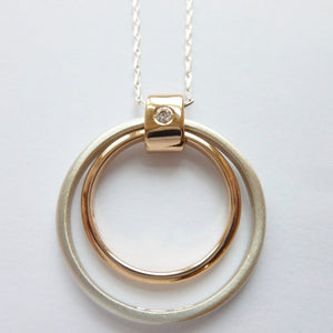 Contemporary unique bespoke handmade and modern pendant with diamond
