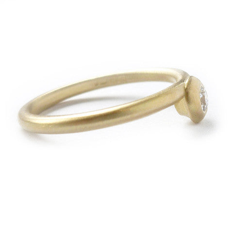 Modern, bespoke and unique 18k gold and round diamond contemporary matt brushed stacking engagement ring by designer maker Sue Lane, UK