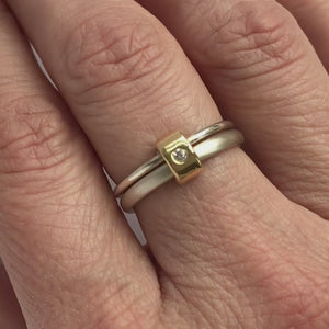 Silver and 18ct gold modern double band diamond ring (RTB) Size P 1/2