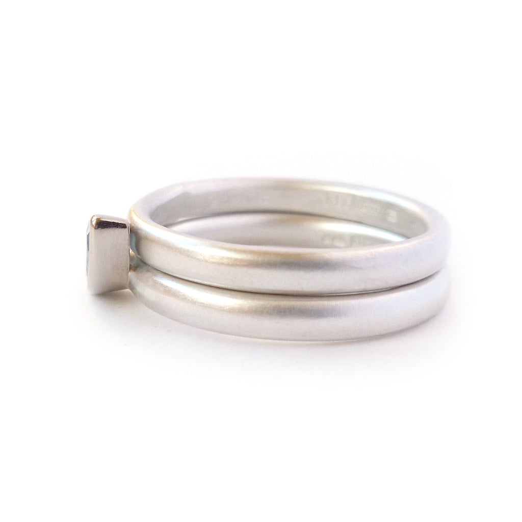 Contemporary, modern and bespoke silver, 18k white and yellow gold marquise aquamarine handmade stacking ring by designer maker Sue Lane Jewellery UK