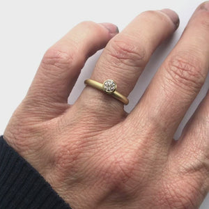 Contemporary, bespoke and modern 18k gold two band stacking diamond wedding ring, engagement ring, eternity ring, matt brushed finish. Handmade by Sue Lane, UK