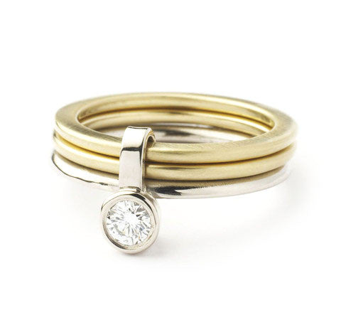 18k White and Yellow Gold Ring (nrg1) - Sue Lane Contemporary Jewellery