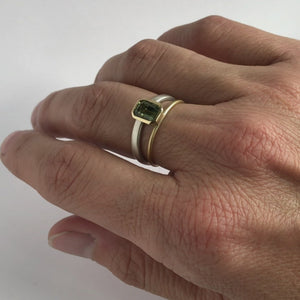 Octagonal-green-sapphire-two-tone-dress-ring-silver-gold-contemporary