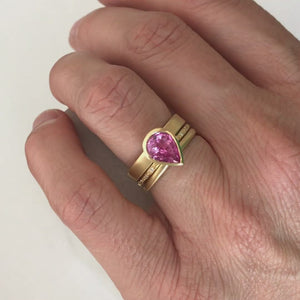Pink-pear-shape-sapphire-and-diamond-stacking-interlocking treble-band-18ct-yellow-gold-contemporary-ringset-ring