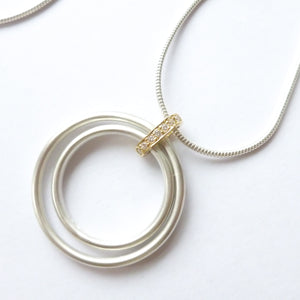 Contemporary Gold, Silver and Diamond Necklace - unique, bespoke by designer jewellery maker Sue Lane.