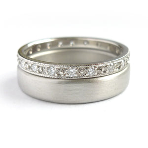 A beautiful classic platinum and diamond wedding or eternity ring handmade by Sue