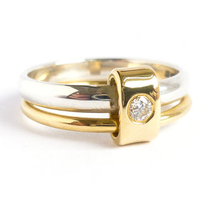 Contemporary ring. Two band, silver, gold, diamond. Unique & bespoke.