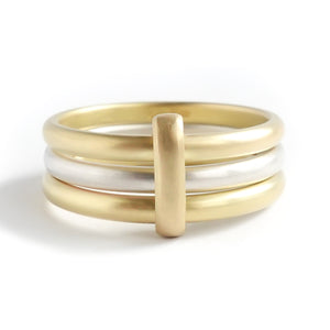 Contemporary 18ct gold and silver three 3 band wedding ring - unique and bespoke.