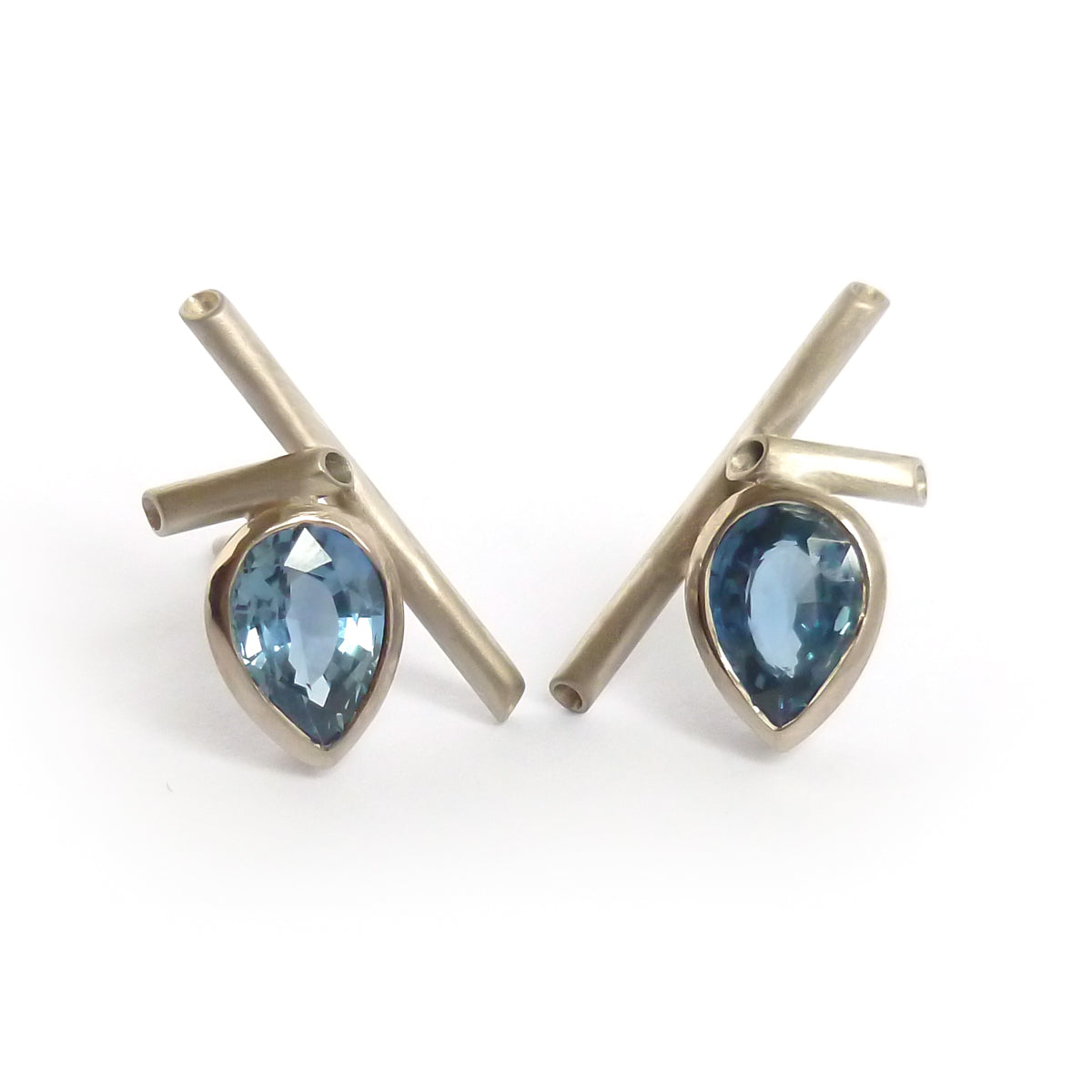 Contemporary, bespoke, modern, 18ct, white, gold, blue, sapphire, earrings