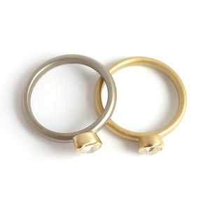 Contemporary 18ct gold and platinum engagement wedding ring, unique, bespoke and modern - handmade by Sue Lane.