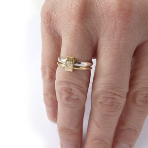 Silver and 18ct yellow gold and diamond two band ring
