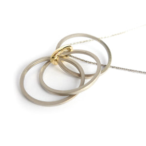 Contemporary jewellery, gold, bespoke and handmade necklace.