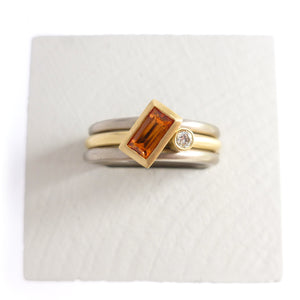 Contemporary jewellery, handmade, modern, bespoke gold and orange sapphire ring by Sue Lane