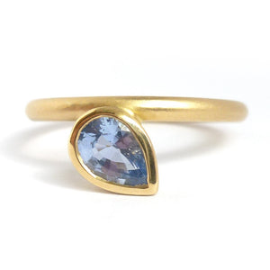 Contemporary jewellery - modern & bespoke engagement sapphire ring handmade in UK