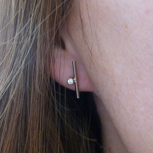 18ct white gold diamond earrings - contemporary and handmade in uk