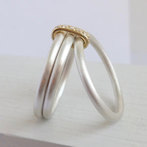 Contemporary bespoke handmade commissioned unique silver gold diamond ring