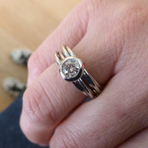 Contemporary bespoke Russian style palladium diamond ring Sue Lane