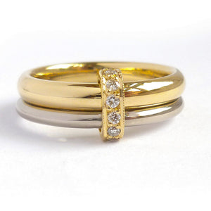 Two band 18ct yellow and white gold ring with diamonds. Contemporary, modern.