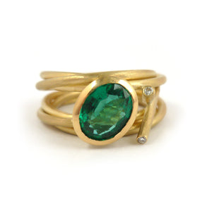 Contemporary modern unique 18ct gold diamond emerald ring contemporary Sue Lane