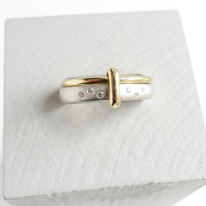 Contemporary modern unique 18ct gold silver diamond two band ring by Sue Lane