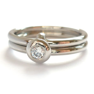 Contemporary palladium two band engagement ring with diamond. Bespoke.
