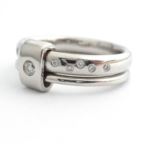 Platinum and diamond two band ring - modern, unique, contemporary. Multi band ring or interlocking ring, sometimes called double band ring too.