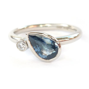 Contemporary modern unique platinum ring blue sapphire Sue Lane Hereford, Herefordshire.