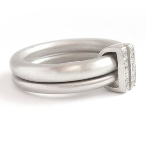Platinum two band ring with pave set diamonds. Contemporary. By Sue Lane. Multi band ring or interlocking ring, sometimes called double band ring too.