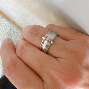 Contemporary unique and bespoke two band platinum ring with a loop. Multi band ring or interlocking ring, sometimes called double band ring too.