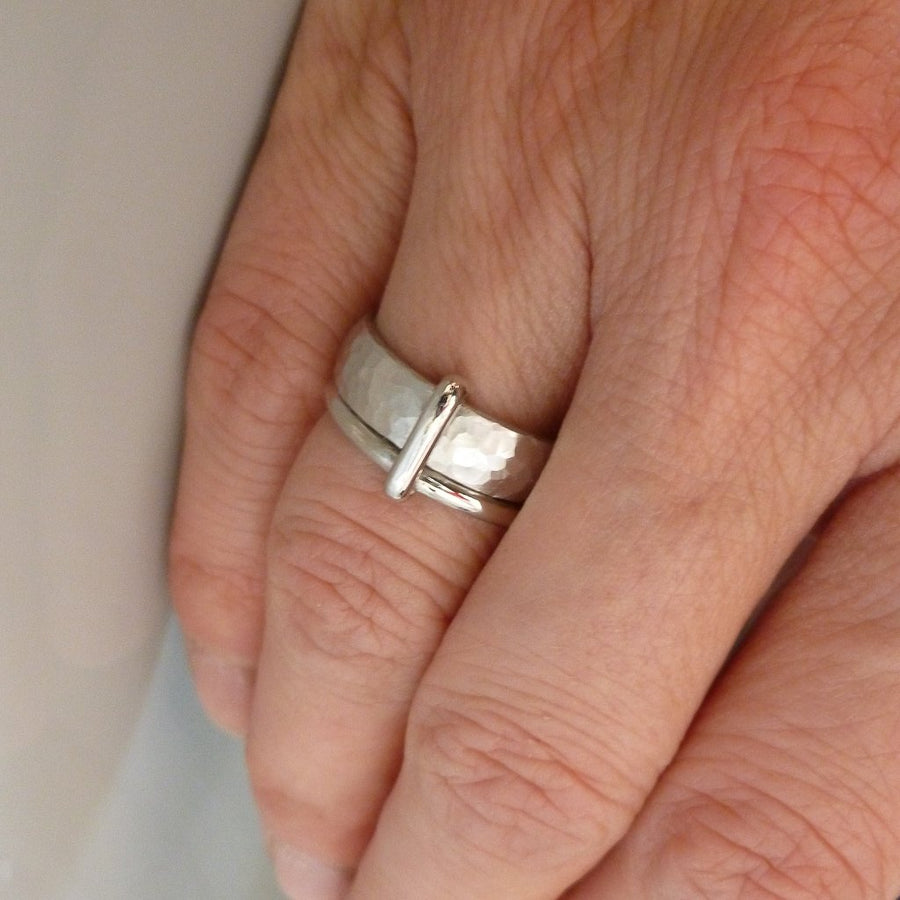 Contemporary, unique and modern platinum mens wedding ring or engagement ring, handmade by Sue Lane Jewellery. Bespoke ring can be made in different sizes. Multi band ring or interlocking ring, sometimes called double band ring too.
