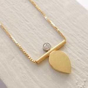 Contemporary, unique, bespoke and handmade 18ct yellow gold pendant by Sue Lane.