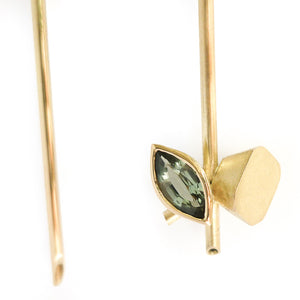 Beautiful, contemporary drop hook earrings with lovely green with a hint of blue sapphire