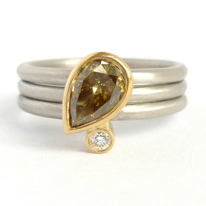 Platinum, 18ct Gold, Champagne And White Diamond Ring. Contemporary, Bespoke, Sue Lane.