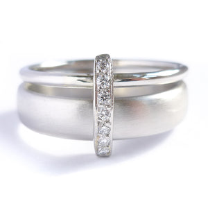 Platinum and Pave Set Diamond Two Band Ring Contemporary Commission