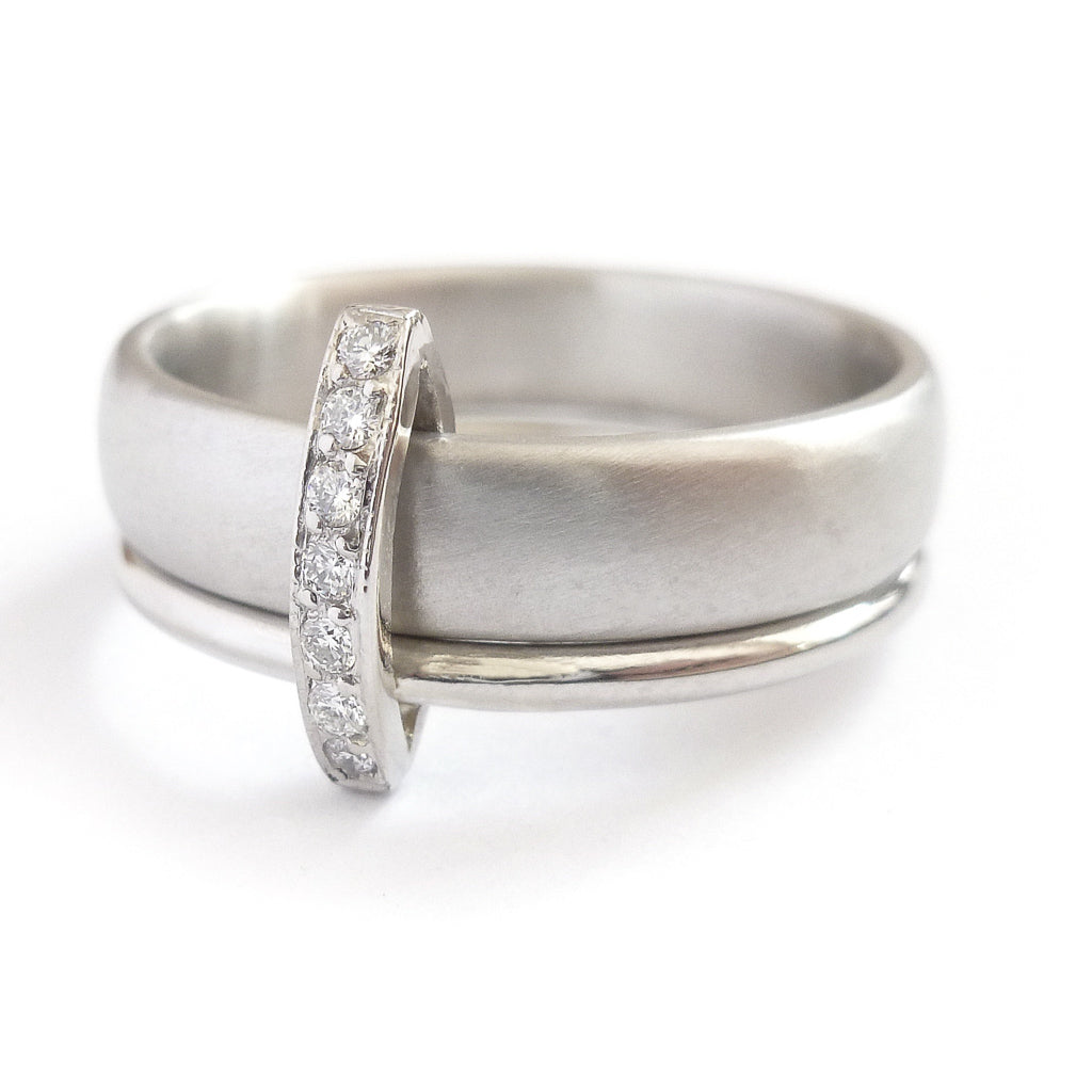 Platinum and Pave Set Diamond Two Band Ring Contemporary Commission. Multi band ring or interlocking ring, sometimes called double band ring too.