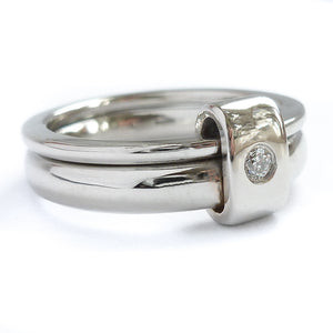 Platinum and diamond two band ring - modern, unique, contemporary by Sue Lane