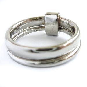 Platinum and diamond two band ring - modern, unique, contemporary by Sue Lane. Multi band ring or interlocking ring, sometimes called double band ring too.
