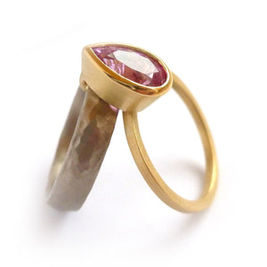 Handmade, unique, modern and contemporary pink sapphire 18ct 18k gold ring commission remodel remodelling