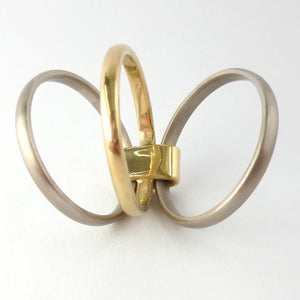 Contemporary jewellery, handmade, modern, bespoke ring by Sue Lane. Triple band ring, interlocking and linked.