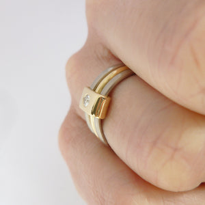 18ct Triple Band Gold Ring with Diamond